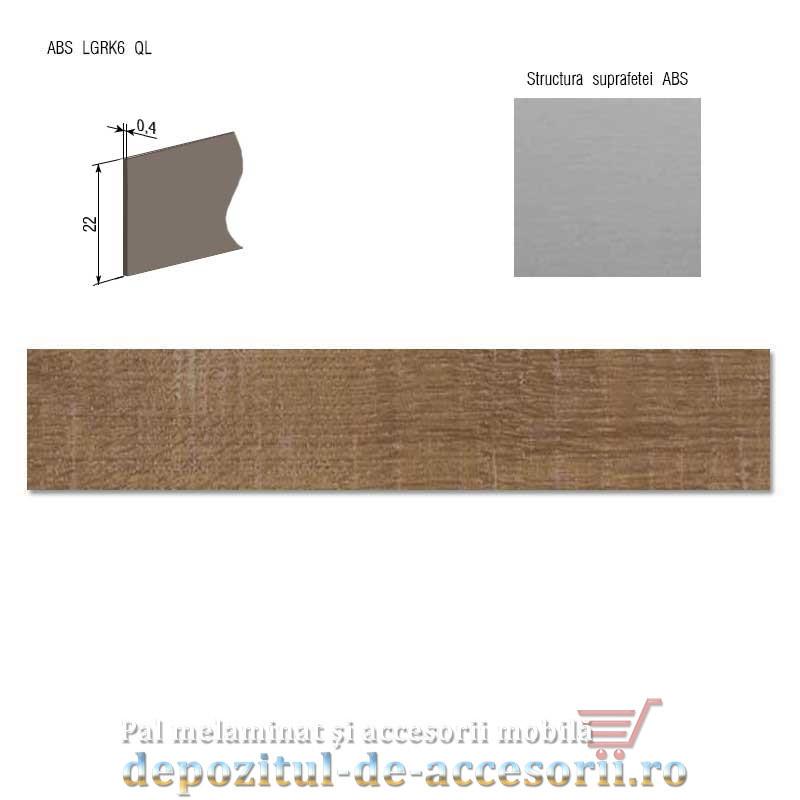 Cant ABS Nuc Dijon natur 22mm x 0,4mm Compatibil cu PAL Melaminat Stejar autentic maro H1151 Egger