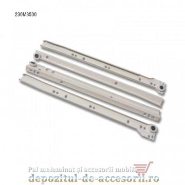 Glisiere cu role 350mm albe extragere parțială Blum 230M3500