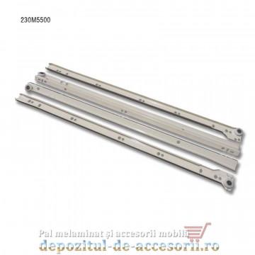 Glisiere cu role 550mm albe extragere parțială Blum 230M5500