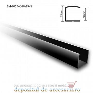 Profil U aluminiu 18mm lungimea 2,5m negru