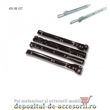 Glisiere cu role 250mm maro extragere parțială Hafele 431.06.127
