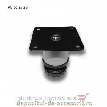 Picior metalic mobilier H50 Ø38mm gri metalizat