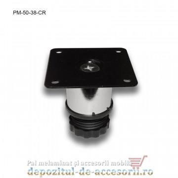 Picior metalic mobilier H50 Ø38mm cromat
