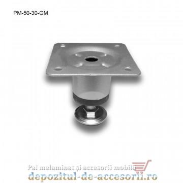 Picior metalic mobilier H50 Ø30mm gri metalizat