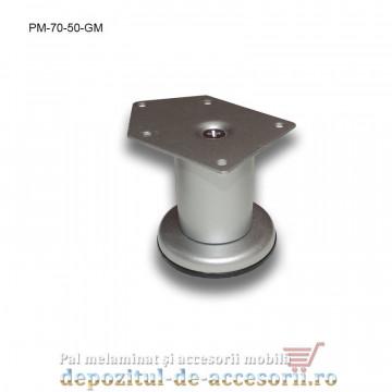 Picior metalic mobilier H70 Ø50mm gri metalizat