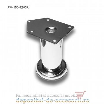 Picior metalic mobilier H100 Ø42mm cromat