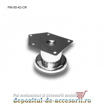 Picior metalic mobilier H50 Ø42mm cromat