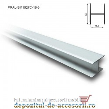 Profil H aluminiu simetric pentru îmbinare PAL de 18mm lungimea 3m