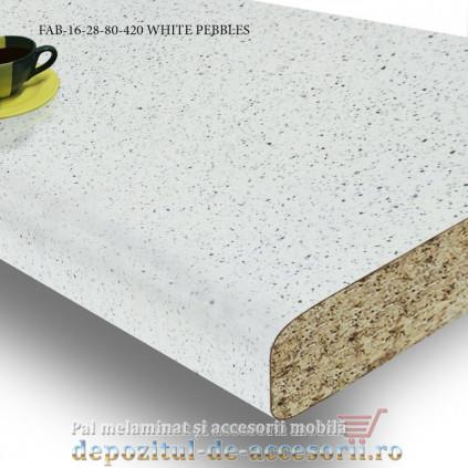 Blat de bucătărie mat WHITE PEBBLES 28x800x4200mm FAB Grup