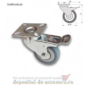 Role mobilier cauciuc cu frana Ø50mm pivotante prindere cu flansa 70.MF0.050.50