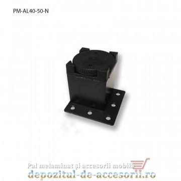 Picior mobilier H50mm profil pătrat 40 x 40mm, negru