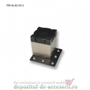 Picior mobilier H50mm profil pătrat 40 x 40mm, șampanie