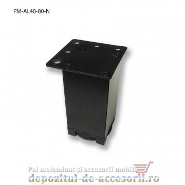 Picior mobilier H80mm profil aluminiu patrat 40x40mm, reglabil, negru