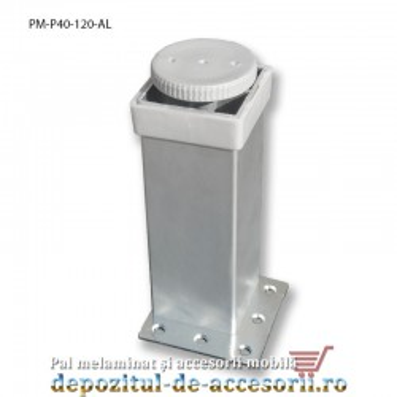 Picior mobilier H120mm profil pătrat 40 x 40mm, aluminiu, reglabil