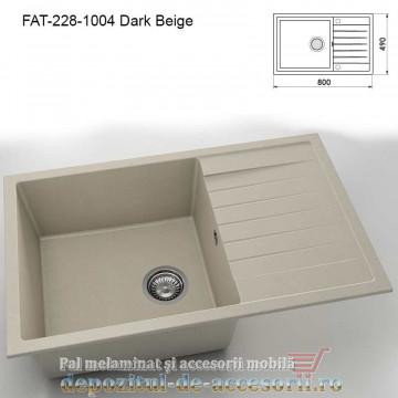 Chiuveta cu o cuva Granixit compozit 228-1004 Dark Beige 800x490mm