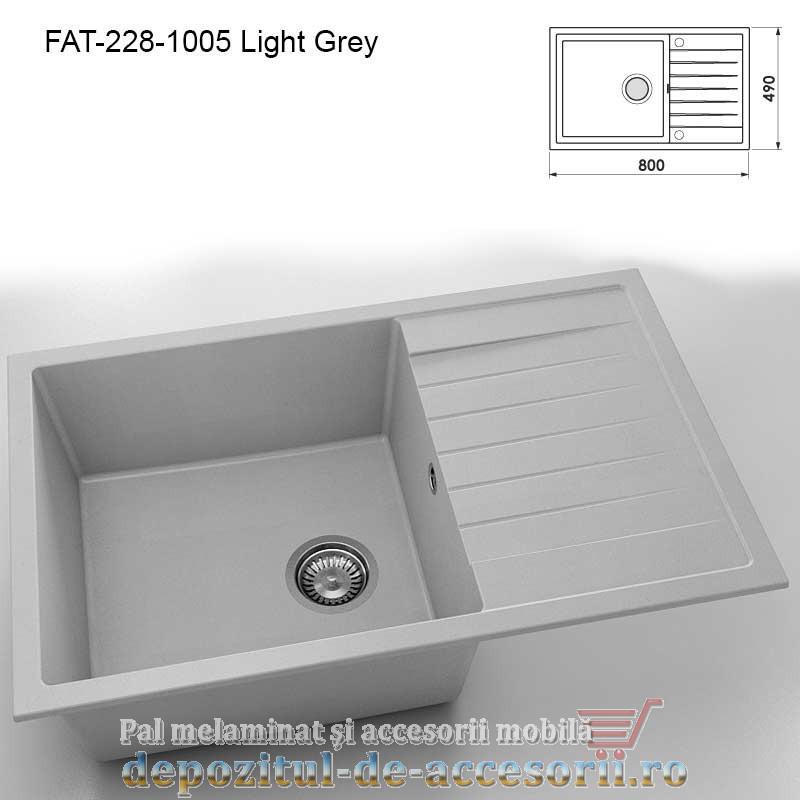 Chiuveta cu o cuva Granixit compozit 228-1006 Grey 800x490mm