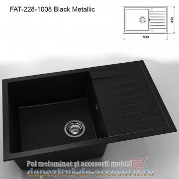 Chiuveta cu o cuva Granixit compozit 228-1008 Black Metallic 800x490mm