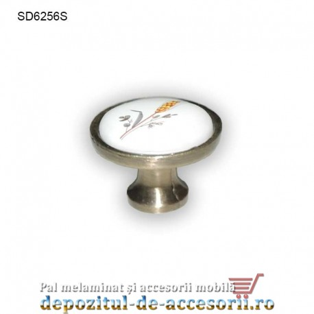 Buton antichizat ceramic alb spic SD6256S 25mm