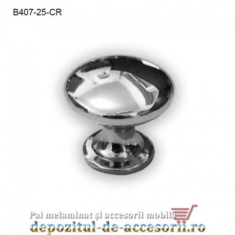 Buton metalic mobilier B407-25-CR Ø25mm crom