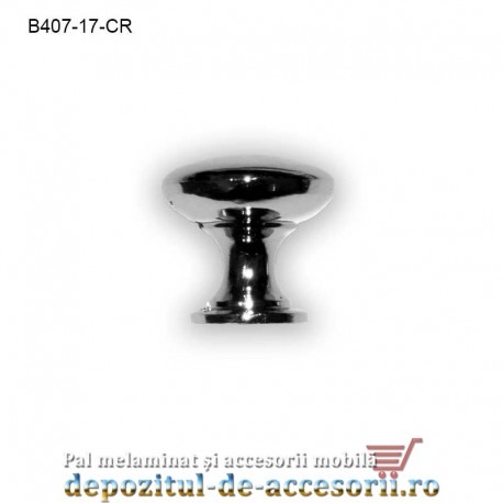 Buton metalic mobilier B407-25-CR Ø17mm crom